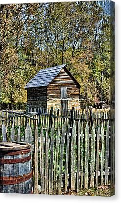 Rain Barrel Canvas Print - Farm Building by Kenny Francis