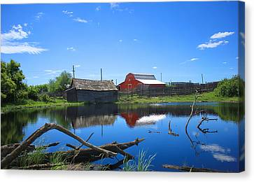 Farm Buildings And Pond. Canvas Print