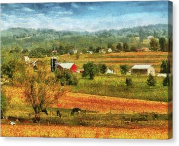 Farm - Cow - Cows Grazing Canvas Print by Mike Savad