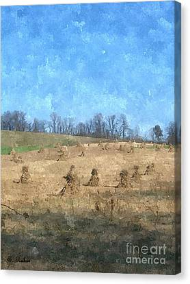 Canvas Print featuring the painting Farm Days 2 by Sara  Raber