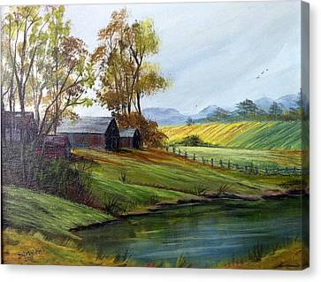 Canvas Print featuring the painting Farm by Dorothy Maier