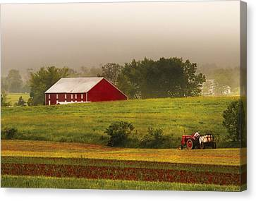 Farm - Farmer - Tilling The Fields Canvas Print by Mike Savad