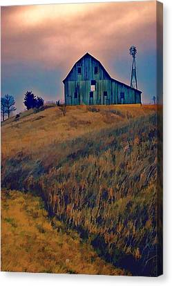 Farm Field And Gathering Storm Canvas Print