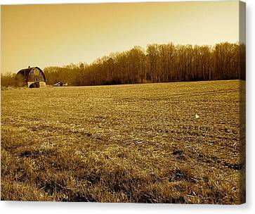Canvas Print featuring the photograph Farm Field With Old Barn In Sepia by Amazing Photographs AKA Christian Wilson