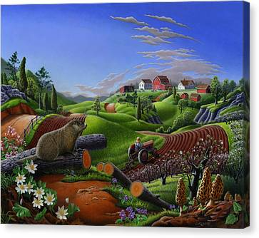 Farm Folk Art - Groundhog Spring Appalachia Landscape - Rural Country Americana - Woodchuck Canvas Print by Walt Curlee