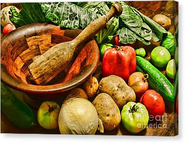 Farm Fresh Food In A Country Kitchen Canvas Print by Paul Ward