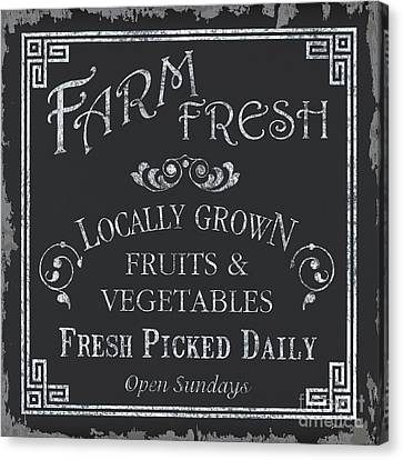 Eat Canvas Print - Farm Fresh Sign by Debbie DeWitt