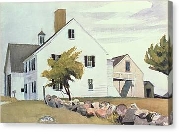 Farm House At Essex Massachusetts Canvas Print by Edward Hopper