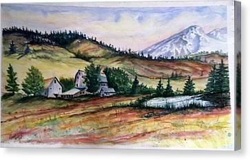 Canvas Print featuring the painting Farm In A Valley by Richard Benson