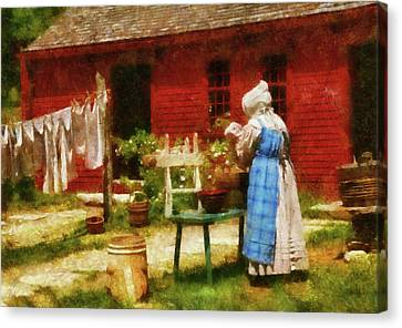 Farm - Laundry - Washing Clothes Canvas Print by Mike Savad