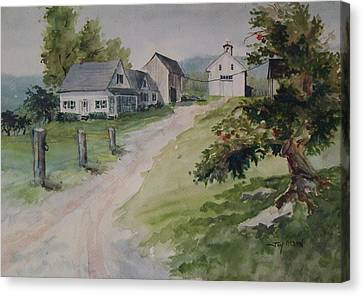 Farm On Orchard Hill Canvas Print by Joy Nichols