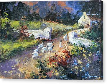 Farm Scene With Goats I Canvas Print