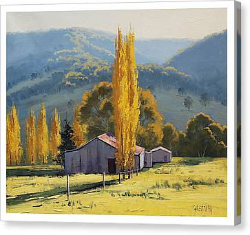Farm Sheds Painting Canvas Print by Graham Gercken