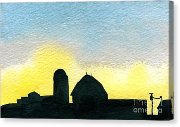Farm Silhouette 1 Canvas Print