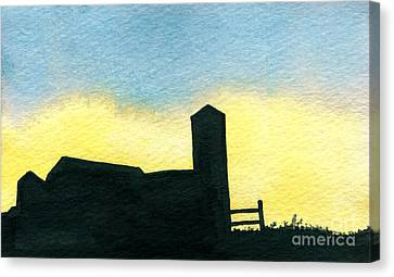 Farm Silhouette 2 Canvas Print
