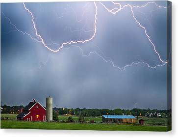The Lightning Man Canvas Print - Farm Storm Hdr by James BO  Insogna