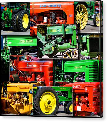 Farm Tractor Collage Square Canvas Print by Thomas Woolworth