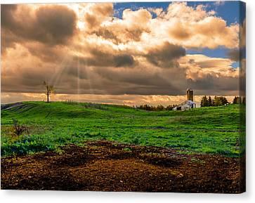 Farm Under Retreating Storm Canvas Print