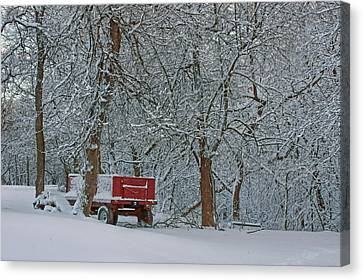 Woodpile Canvas Print - Farm Wagon In Winter by Nikolyn McDonald