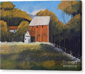 Canvas Print featuring the painting Farm With Red Barn by Pamela  Meredith