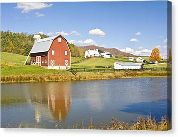 Canvas Print featuring the photograph Farm With Red Barn by Robert Camp