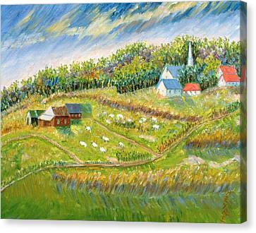 Farm With Sheep Canvas Print by Patricia Eyre