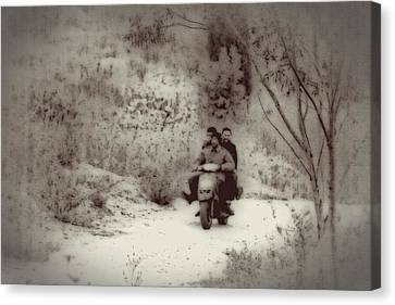 Farm Workers Riding On One Motorbike Canvas Print