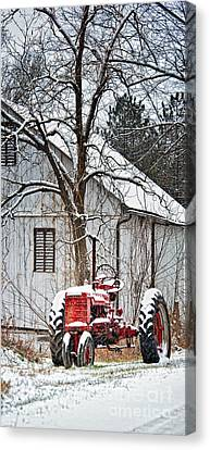 Farmall Tractor In Winter Canvas Print by Timothy Flanigan