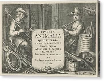 Farmer And Rancher In A Stable, Reinier Van Persijn Canvas Print by Reinier Van Persijn And Nicolaes Visscher (i)