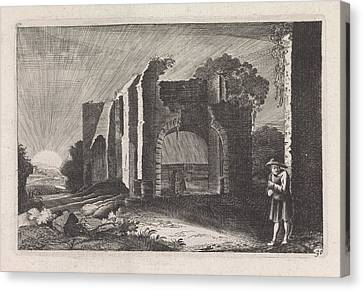 Farmer At A Ruin, Claes Jansz Visscher II Canvas Print by Claes Jansz Visscher Ii