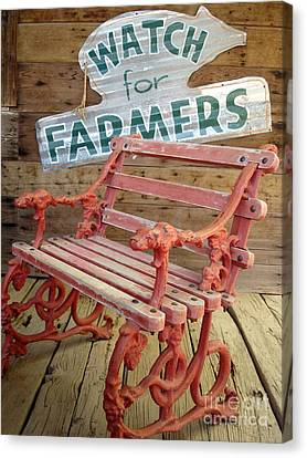 Farmer Bench Canvas Print by Kerri Mortenson
