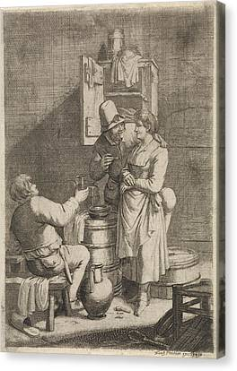 Farmer Couple And A Man With A Glass, Print Maker Justus Canvas Print by Justus Van Den Nijpoort And Franz Prechler