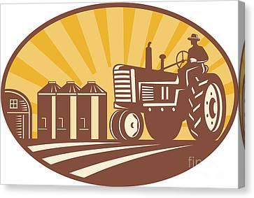 Farmer Driving Vintage Tractor Retro Woodcut Canvas Print by Aloysius Patrimonio