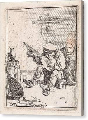Farmer Plays The Lute, Anonymous, David Teniers II Canvas Print by David Teniers (ii)