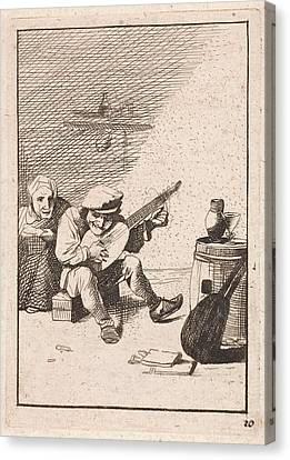 Farmer Plays The Lute, David Teniers II, Anonymous Canvas Print by David Teniers Ii And Anonymous