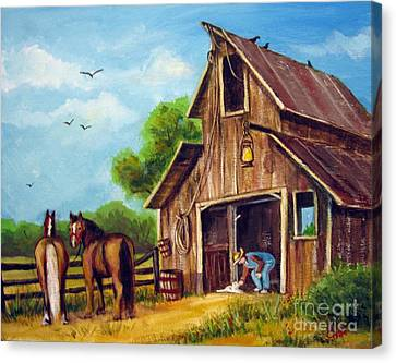 Canvas Print featuring the painting Farmer Scene by Carol Hart