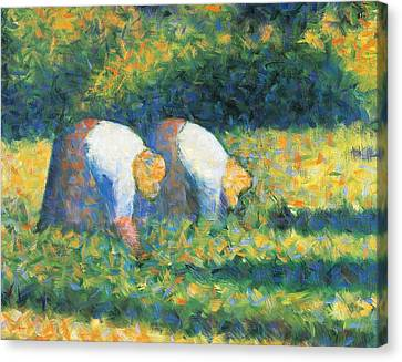 Farmers At Work Canvas Print by Georges Seurat
