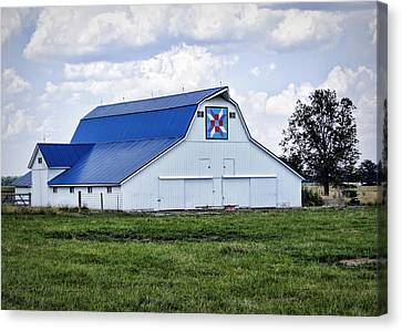 Farmers Daughter Quilt Barn Canvas Print by Cricket Hackmann