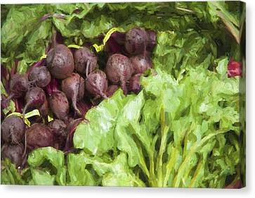 Farmers Market Beets And Greens Canvas Print by Carol Leigh