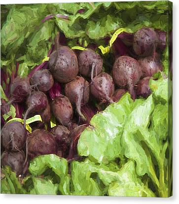 Farmers Market Beets And Greens Square Canvas Print by Carol Leigh