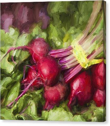 Farm Stand Canvas Print - Farmers Market Beets Square Format by Carol Leigh