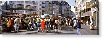 Farm Stand Canvas Print - Farmers Market, Bonn, Germany by Panoramic Images