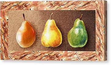 Farmers Market Drive Through Red Yellow And Green Pear Canvas Print by Irina Sztukowski