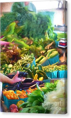 Finger Lakes Canvas Print - Farmer's Market Produce Stall by Michele Steffey
