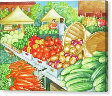 Canvas Print featuring the painting Farmers Market View by Inese Poga