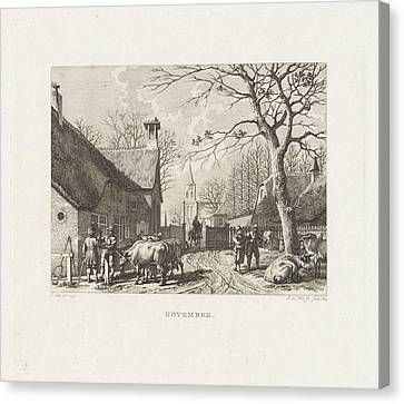 Farmers Negotiate Near Oxen In A Village Canvas Print by Izaak Jansz. De Wit And Jacob Cats