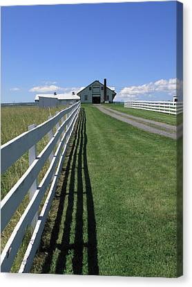 Farmhouse And Fence Canvas Print by Frank Romeo