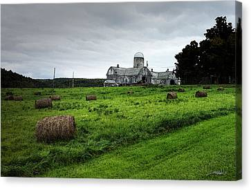 Farmhouse Bails Of Hay Canvas Print by Michael Spano
