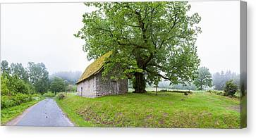 Farmhouse In A Field, Chapelle Du Mas Canvas Print by Panoramic Images