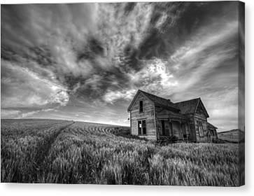 Contour Farming Canvas Print - Farmhouse B And W by Latah Trail Foundation
